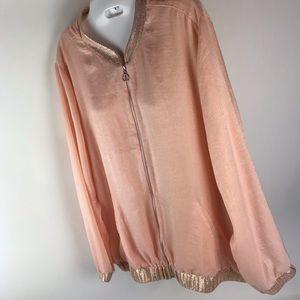 NY Collection Jackets & Coats - NY Collection Womens XL Pink Satin Shimmer Jacket